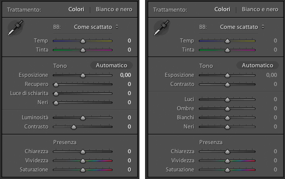 Lightroom 3 vs Lightroom 4 - sviluppo base